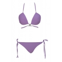 Purple Halter String Bikini Bottom High Waist Bikini Set