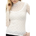 Plain Polka Dot Lace Mesh Inserted Long Sleeve Top