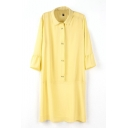 Yellow Lapel 3/4 Sleeve Diamond Buttons Shift Dress
