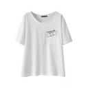 White Bandage Letter Print Short Sleeve T-Shirt