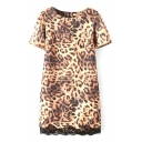 Leopard Pattern Print Lace Hem Panel Short Sleeve Dress