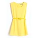 Plain Sleeveless Chiffon Pleated Belted Dress