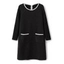 Plaid Round Neck Long Sleeve Shift Dress