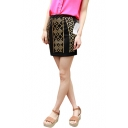 Black Vintage Beaded Mini Pencil Skirt