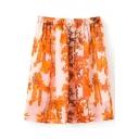 Yellow Floral Print Elastic Waist Chiffon Skirt
