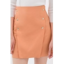 Orange Plain Double-Breast Zipper Back Skirt