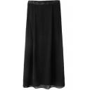 Black Chiffon Split High Waist Skirt