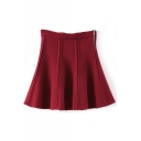 Red Plaid Zip Fly Pleated Full Skirt