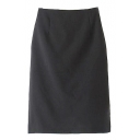 Plain Fitted Split Hem Midi Pencil Skirt