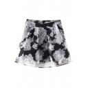 High Waist Organza Floral Print Mesh Sheer Skirt