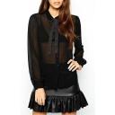 Black Chiffon Sheer Long Sleeve Bow Shirt