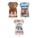 Cartoon Animal Short Sleeve Tunic Tee