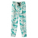 White Floral Print Drawstring Waist Pencil Pants
