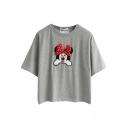 Gray Short Sleeve Cartoon Mouse Applique Crop T-Shirt