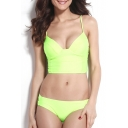 Green Adjustable Straps Loop Side Bikini Set