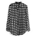 Black Heart Print Long Sleeve Chiffon Shirt