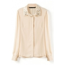 Beige Long Sleeve Beaded Lapel Long Sleeve Chiffon Blouse