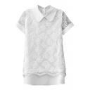 White Short Sleeve Organza Insert Floral Pattern Chiffon Blouse