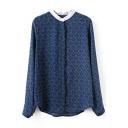 Blue Long Sleeve Chain Print Stand Up Collar Chiffon Blouse