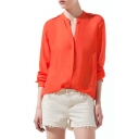 Orange Long Sleeve Stand Up Collar Chiffon Blouse