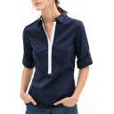 Contrast Placket Long Sleeve Point Collar Shirt
