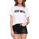 Black IDFWU Print White T-Shirt