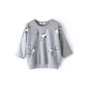 Gray Swallow Print Half Sleeve Sweatshirt