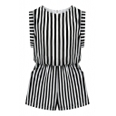 Mono Vertical Stripe Sleeveless Rompers