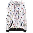 Colorful Giraffe Print Zip Fly Hoodie with Pocket Front