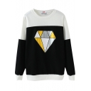 Color Block Diamond Print Round Neck Long Sleeve Sweatshirt