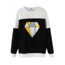 Color Block Diamond Print Round Neck Long Sleeve Sweatshirt