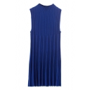 Vertical Stripe Knitted High Collar Sleeveless Dress