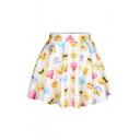 Emoji Print Elastic Waist A-Line Mini Skirt