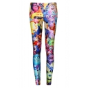 Summer High Waist Elastic Fitted Cartoon Print Leggings