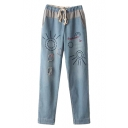 Cartoon Sum&Letter Embroidered Straight Jeans