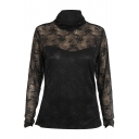 Black High Neck Long Sleeve Lace Crochet Sheer Top