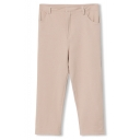 Plain Elastic Fitted Cotton Straight Crop Pants