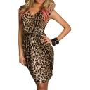 Leopard Print Gathered Waist V-Neck Midi Dress