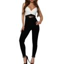 Color Block Stud Waist Spaghetti Strap Fitted Jumpsuit