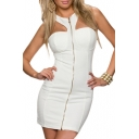 White Zip Front Sleeveless Fitted Dress with Round Neck