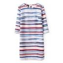 Stripe Print 3/4 Sleeve Round Neck Shift Dress