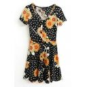 Polka Dot Chrysanthemum Print Short Sleeve V-Neck Ruffle Hem Dress