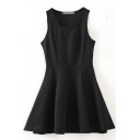 Black Plain Round Neck Ruffle Hem Tank Dress
