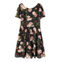 Black Back Blossom Print Short Sleeve Chiffon Fit&Flare Dress