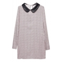 PU Lapel Long Sleeve Laid Back Beige Dress