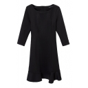 3/4 Sleeve Seam Detail Concise Style Ruffle Hem Black Dress