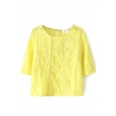 Yellow 1/2 Sleeve Back Zip Lace Illusion Blouse