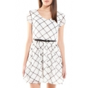 White Plaid Print Short Sleeve Belted Dress