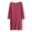 Striped 3/4 Sleeve Scoop Neck Fitted Dress