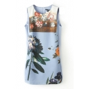 Digital Flower Print Slim Tanks Dress